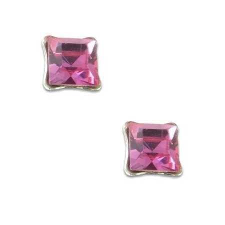 Clous d'oreilles en argent et cristal carré rose