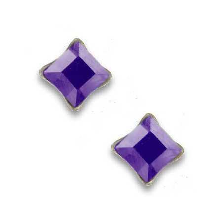 Clous d'oreilles en argent et cristal carré mauve bleuté