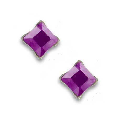 Clous d'oreilles en argent et cristal carré violet