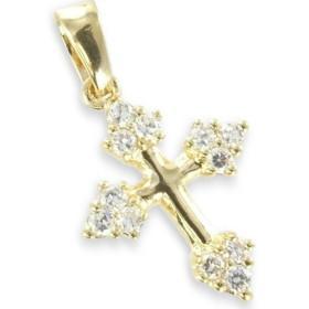 Croix plaqué or avec oxydes de zirconium.