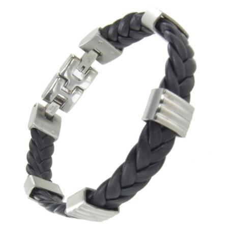 Bracelet homme acier et cuir tressé.