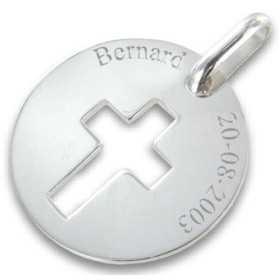 Médaille croix en argent personnalisée