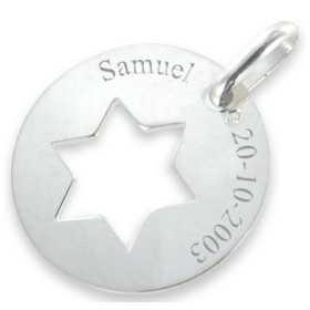 Médaille étoile de david en argent personnalisée