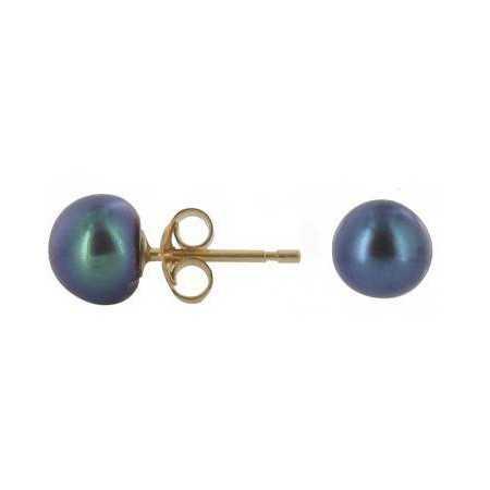 Clous d'oreilles or et perles noire