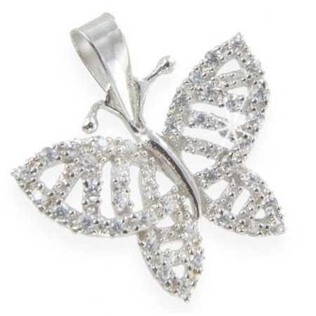Papillon en argent avec zircones