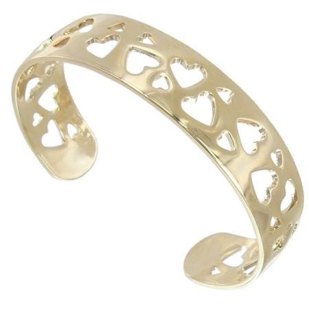 Bracelet coeurs ajourés plaqué or