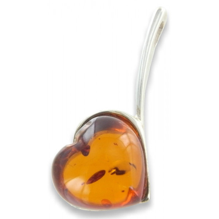 Coeur d'ambre en pendentif argent
