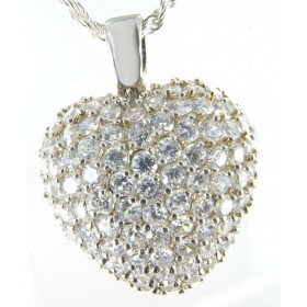 Collier coeur en argent pavé de zircones