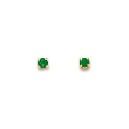 Clous d'oreilles en or 750 avec émeraudes 2,8 mm