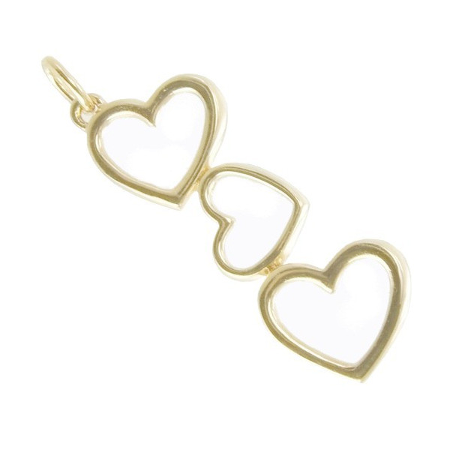 Pendentif coeurs articulés plaqué or