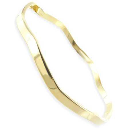 Bracelet jonc vagues plaqué or