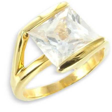 Solitaire contemporain plaqué or avec oxyde de zirconium carré ø52