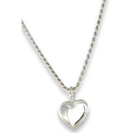 Joli collier coeur en argent maille corde.