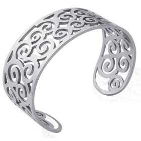 Bracelet jonc acier arabesques ajouré
