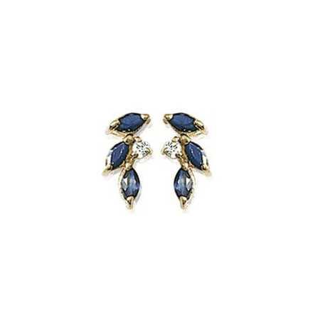 Boucles d'oreilles plaqué or avec oxydes blanc et bleu