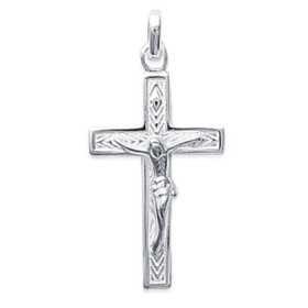 Pendentif christ en croix en argent.