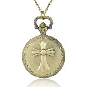 Montre à gousset métal bronze doré vieilli croix.