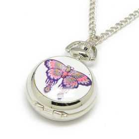 Montre sautoir dame papillon sur porcelaine