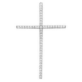 Très grande croix en argent et zirconias