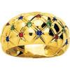 Bague or, saphirs, rubis et émeraudes
