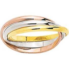 Alliance 3 or anneaux or jaune, blanc et rose