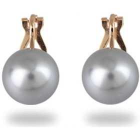 cdc4c9a9f43 Boucles d oreilles clips plaqué or perles grises
