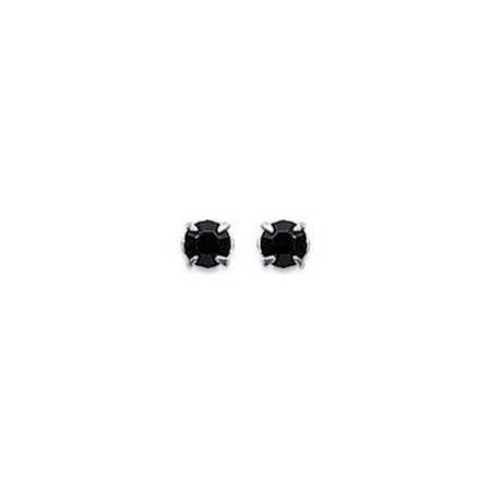 Clous d'oreilles en argent et cristal noir taille ronde