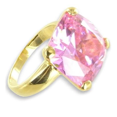 Bague solitaire plaqué or avec gros oxydes de zirconium rose ø56
