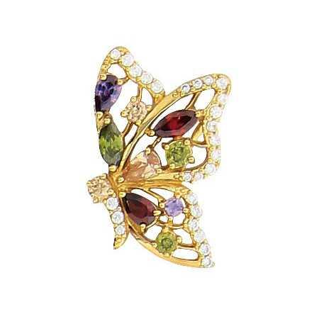 Pendentif papillon plaqué or avec pierres multicolores