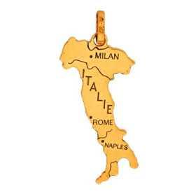 Pendentif carte Italie en or