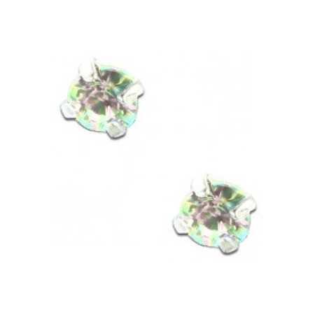 Clous d'oreilles en argent et cristal irisé taille ronde