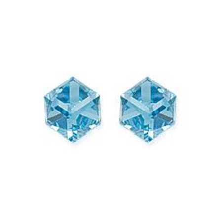 clous d'oreilles argent avec prisme cristal bleu ciel