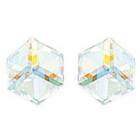 clous d'oreilles argent avec grand prisme cristal irisé