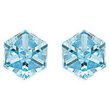 clous d'oreilles argent avec grand prisme cristal bleu ciel