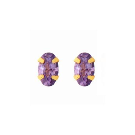 Clous d'oreilles or avec oxydes de zirconium mauve