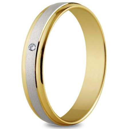 Alliance 2 ors 4 mm, mate, brillante et diamant de 0,02 ct