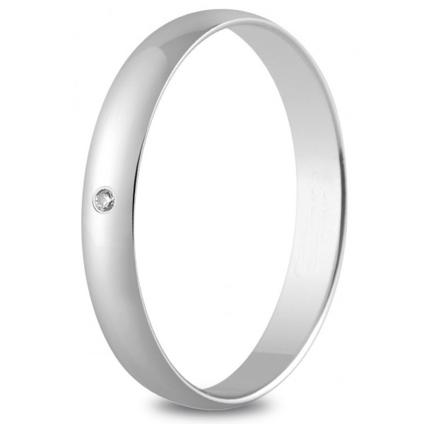 Alliance or blanc 3 mm et diamant de 0,01 carat