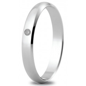 Alliance or blanc 3 mm, diamant de 0,02 ct