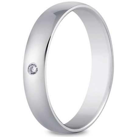 Alliance or blanc 4 mm et diamant de 0,03 carat