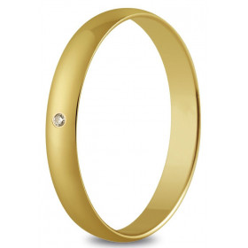 Alliance or jaune 3 mm, diamant de 0,01 ct