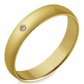 Alliance or jaune 4 mm et diamant de 0,03 carat