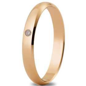 Alliance 3 mm or rose et diamant de 3 mm, avec diamant