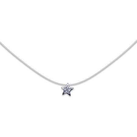 Collier argent pendentif étoile cristal