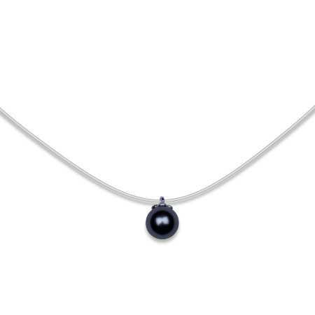 collier argent perle grise