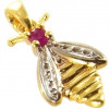 Pendentif abeille en or avec rubis.