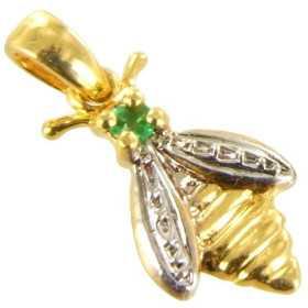 Pendentif abeille en or avec émeraude