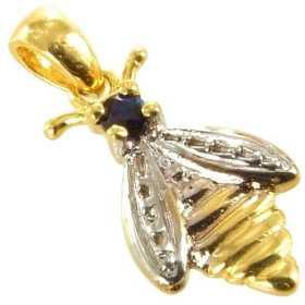 Pendentif abeille en or avec saphir