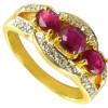 Bague en or avec 3 rubis et diamants 0,20 carat