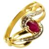 Bague en or avec rhodiage et rubis de 5x3mm