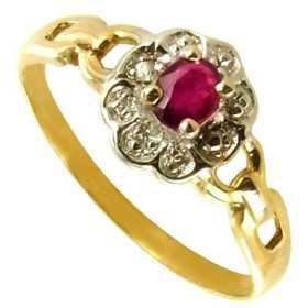 Bague fleur en or avec rhodiage, rubis de 5x3mm et diamant